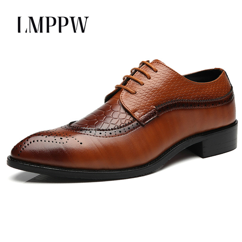 British Style Bullock Male Casual Oxfords Classic Dress Leather Shoes Fashion Popular Pointed Toe Business Formal Shoes Big Size