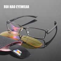 Unisex Brillen Rahmen Männer Voller Randlose Design Optische Gläser Rahmen Frauen 2PCS Clip auf Sonnenbrille Gelb Nachtsicht Gläser