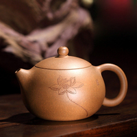 180ML Yixing Zisha Teapot Raw Ore Gold Lao Duan Mud Purple Caly Pot Sculpture Lotus Pattern Xishi Teaware Green Tea Puer Kettle