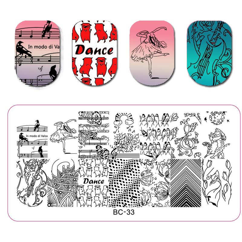 1PC Nail Stamping Template Animal Kangaroo Flower Leaf Music DIY Manicure Nail Art Stamping Plate Nail Template For Nail Art