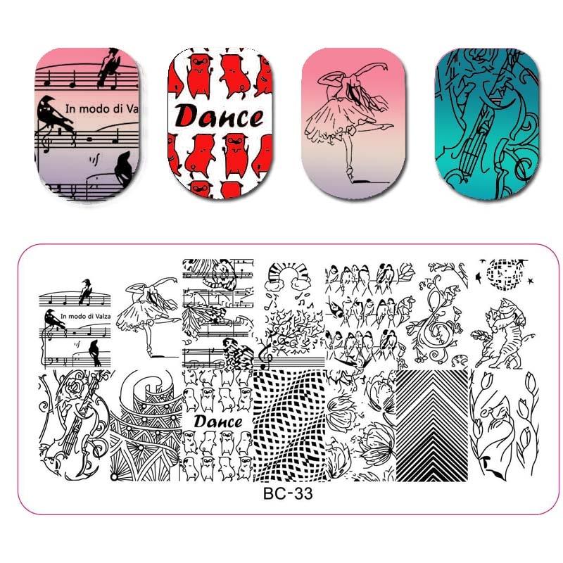 1PC Nail Stamping Template Animal Kangaroo Flower Leaf Music DIY Manicure Nail Art Stamping Plate Nail Template For Nail Art