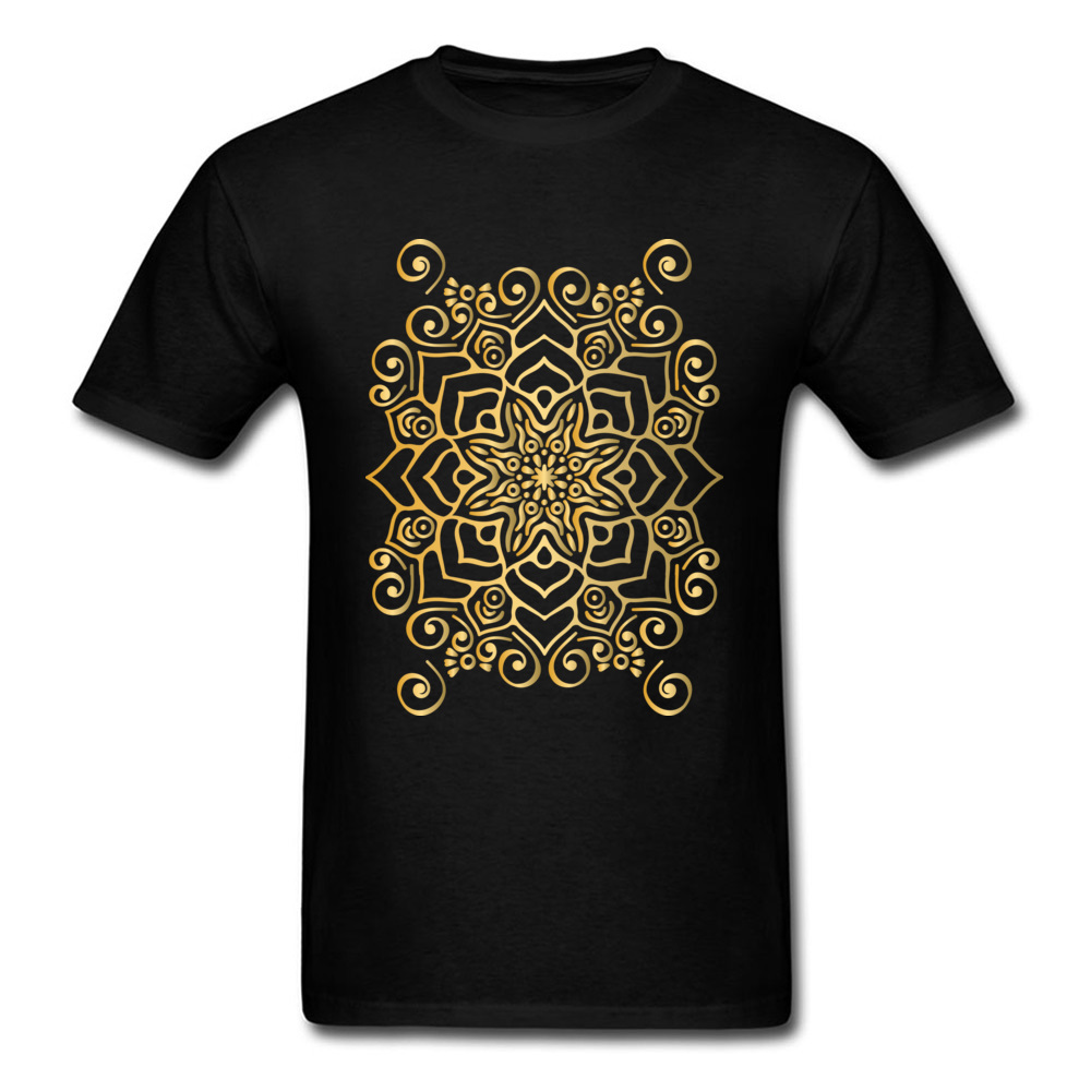 Printed On Spider Net Mandala Men T-shirts Hip Hop Father Day Short Sleeve Tops & Tees Round Neck 100% Cotton Fabric T Shirt