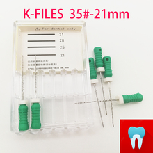 6pcs/pack #35-21mm Dental K Files Root Canal Dentistry Endodontic Instruments Dentist Tools Hand Use Stainless Steel