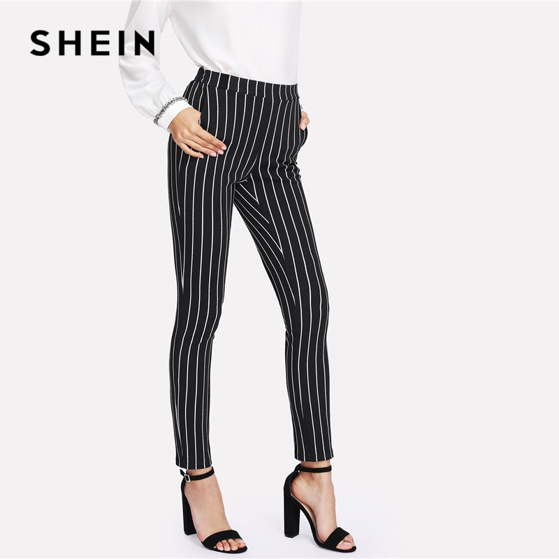 Image 3 - SHEIN Vertical Striped Skinny Pants Women Elastic Waist Pocket OL Style Work Trousers 2018 Spring Mid Waist Long Pencil Pants-in Pants & Capris from Women's Clothing
