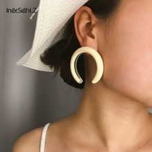 IngeSight.Z 7 Colors Punk Exaggerated Big Half Moon Stud Earrings Statement Thick Tube for Women Female Jewelry Brincos