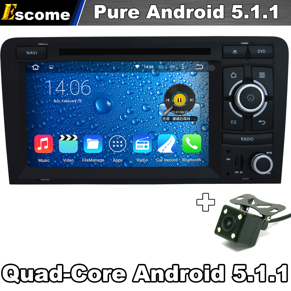 Pure Android 5.1 Car DVD Player For Audi S3 Audi RS3 AUDI A3 2003 2004 2005 206 2007 2008 2009 2010 2011 with Rear View Camera