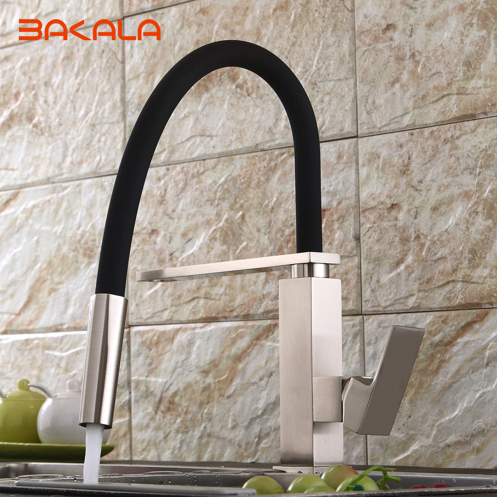 BAKALA New black pull down kitchen faucet square brass kitchen mixer sink faucet mixer kitchen faucets pull out kitchen tap newly arrived pull out kitchen faucet gold sink mixer tap 360 degree rotation torneira cozinha mixer taps kitchen tap