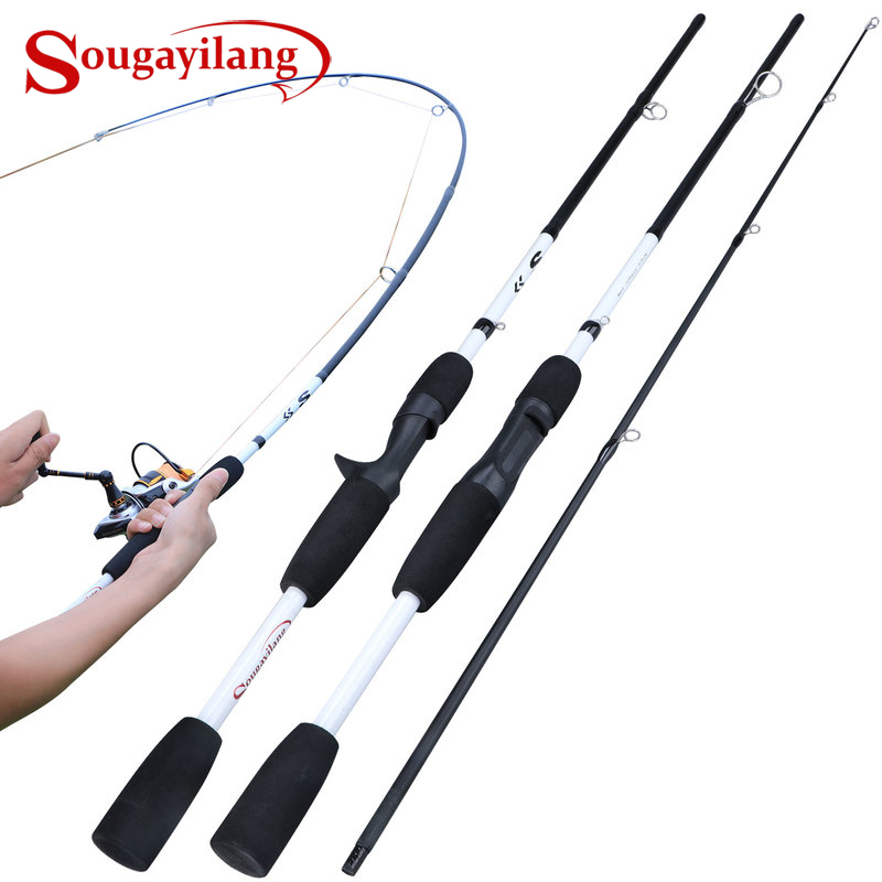 Sougayilang 2 Sections  Carbon Fiber Spinning/Casting Fishing Rod Ultralight Weight Fishing Pole Travel Rod Fishing Tackle Pesca