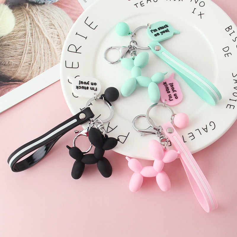2019 Fresh color PVC soft rubber rope dog Cartoon elephant doll pendant key chain Cute puppy doll couple key chain lanyard gift
