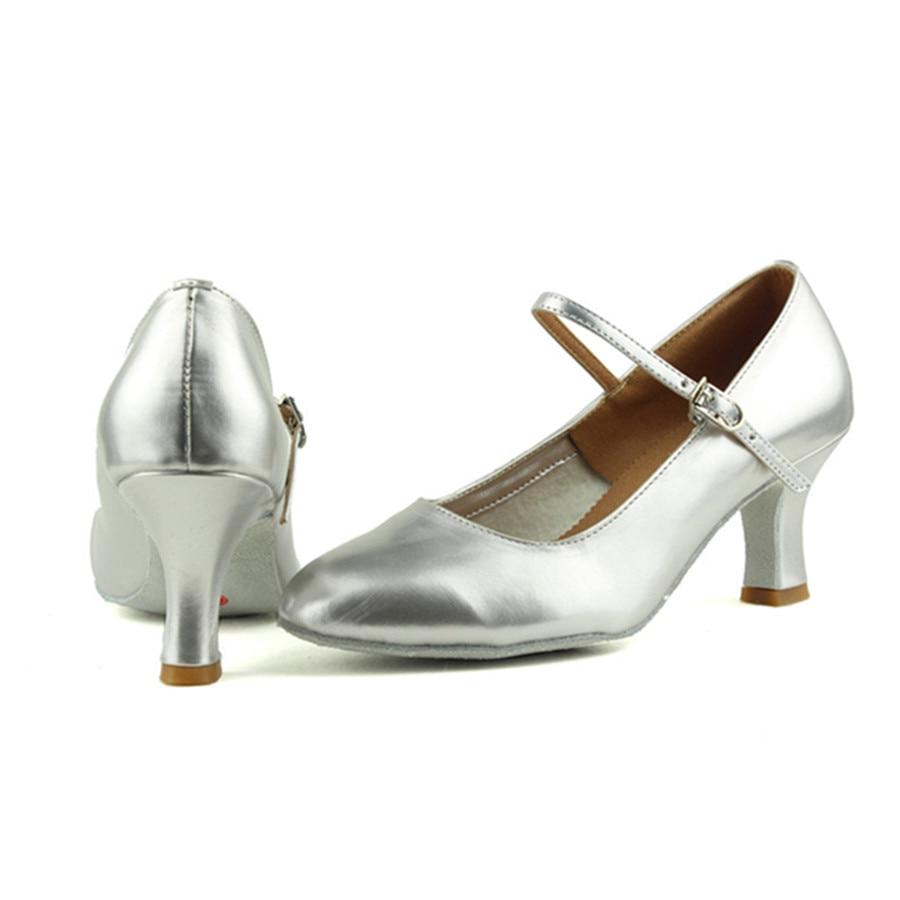 Free Shipping Hot Sale Silver PU Latin Dance Shoes Woman Salsa Tango Ballroom Shoes Zapatos De Baile Latino Mujer