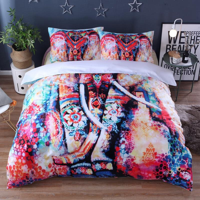 Duvet Cover King Size Comforter Bedding Sets Us Queen Watercolor Elephant Printed Kids Bedding Set