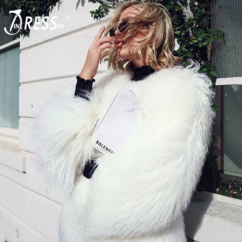 INDRESSME 2019 New Women Slim O Neck Covered Button Fur Coat Outerwear Long Sleeve Fashion Lady Soft Comfort Party Jacket  INS