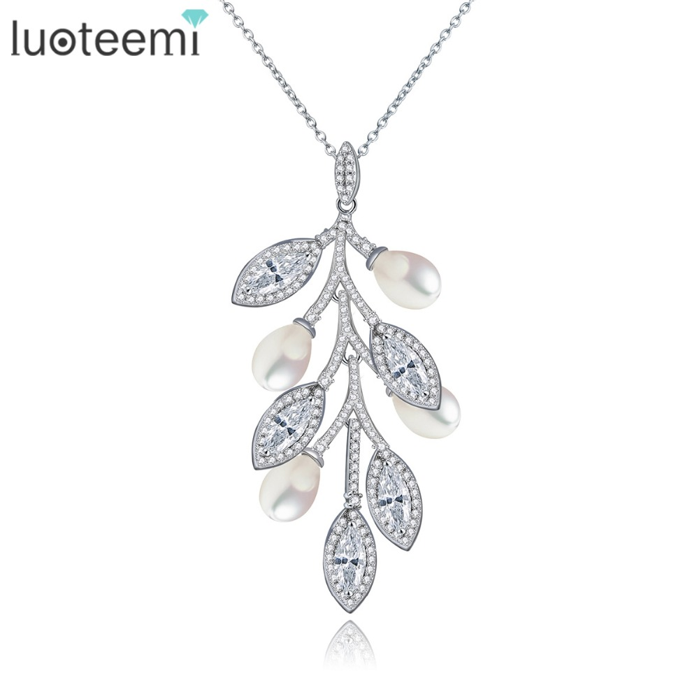 LUOTEEMI Women Casual Modern Marquise Cuting Zircon With Created Waterdrop Pearls Conected Leaf Shape Pendant Necklace