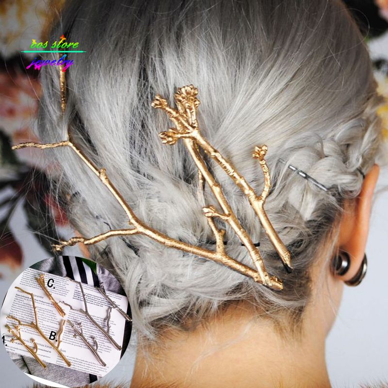 Vintage Brief Style Gold/Silver Branch Dull Polish Hairpin Hair Jewelry Wedding Bridal Hair Accessories For Women