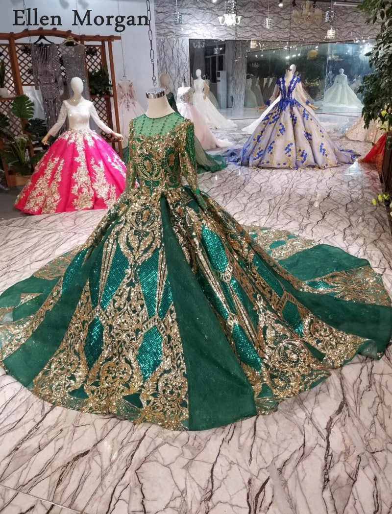 ee930cfb62f68 Colorful Dark Green Lace Ball Gowns Wedding Dresses 2019 Gold Lace  Embroidery Crystal Corset Elegant Bridal Gowns for Women