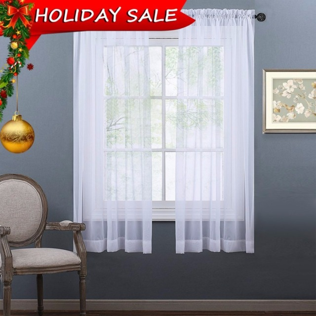 nicetown white sheer curtains panel window treatment rod pocket sheer voile drapes for bedroom for children - White Sheer Curtains