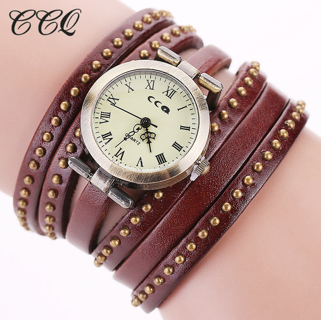 CCQ Vintage Rivet Leather Bracelet Watches Fashion Women Quartz Watches Ladies Q