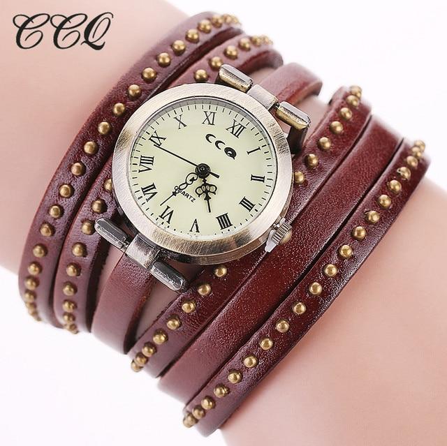 CCQ Vintage Rivet Leather Bracelet Watches Fashion Women Quartz Watches Ladies Q