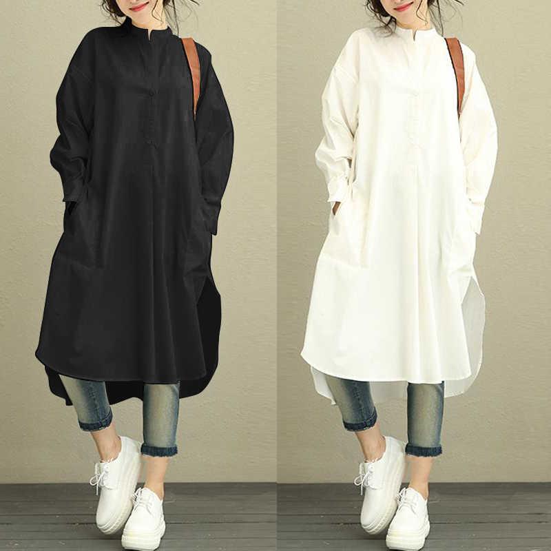 39ecdc03fb 2019 Zanzea Long Sleeve Oversized Women Shirt Dress Elegant Curved Hem Slit  Loose Leisure Dresses Retro Vestidos Plus Size 5XL