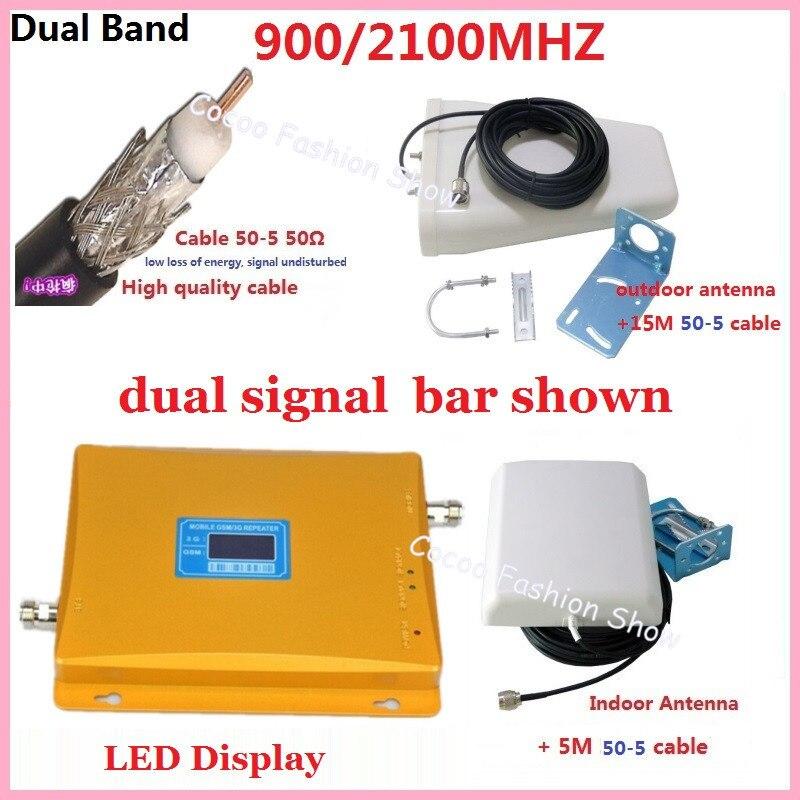Écran LCD 3G 2100 MHz + GSM 900 Mhz double bande amplificateur de Signal de téléphone portable, répéteur de Signal de téléphone portable + antenne + câble 20 M 50-5