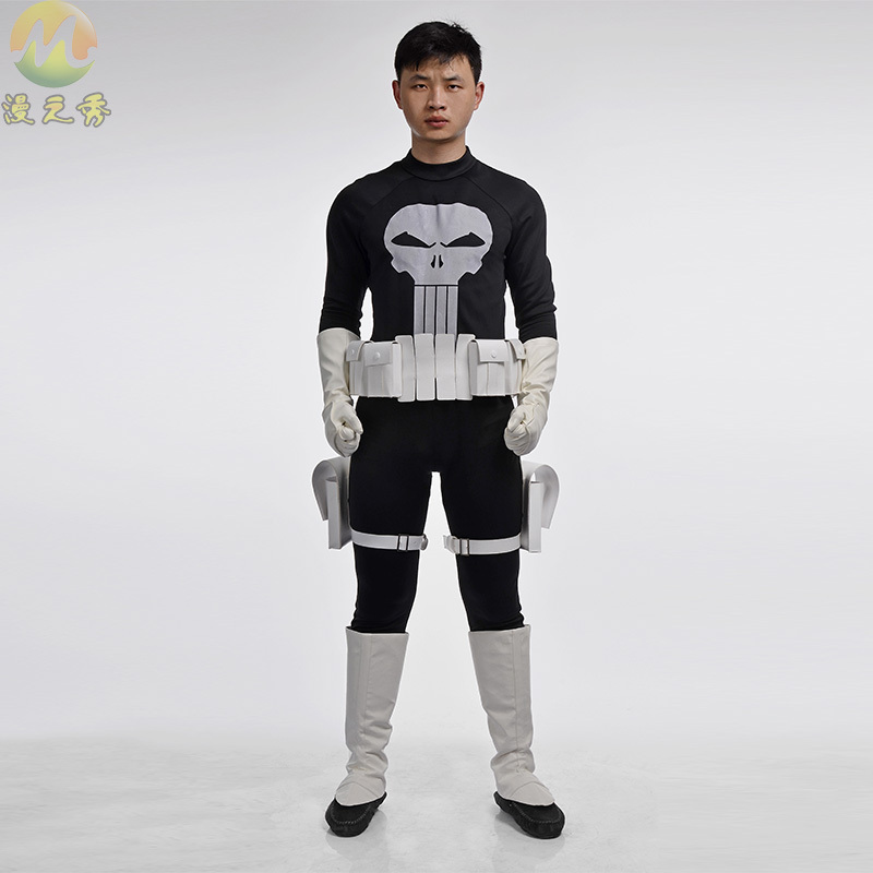 New Hot Superhero the Punisher Costumes Frank Castle Cosplay jumpsuit Costume for Adults Man Uniform Men Halloween Party