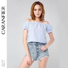 d068665297 CARANFIER verano Sexy del hombro Tops para las mujeres Casual gasa blusa  mariposa manga Backless Stripe señora camisas más barat.
