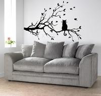 Cat On A Branch Tree Birds Wall Sticker Vinyl Art Decal Window Decal Stencil For Kids