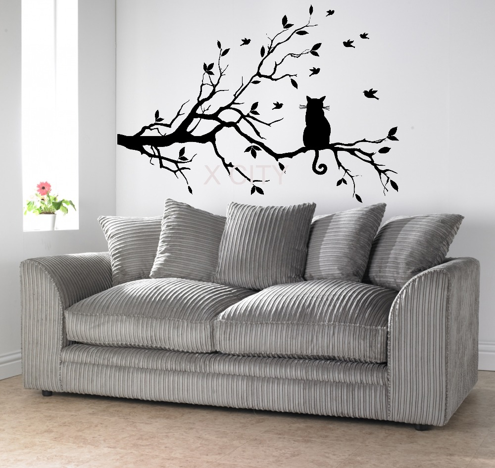 Cat on a branch tree birds wall sticker vinyl art decal window decal stencil for kids