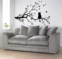 Kat Op EEN Tak Boom Vogels Muursticker Vinyl Art Decal Raamstickers Stencil Voor Kinderkamer Decor Adesivo De parede SML(China)