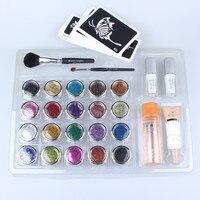 20 pcs Glitter Tattoo Powder for Body Art Temporary Tattoo/ body painting Kit w/ Brushes / Glue / Stencils free shipping