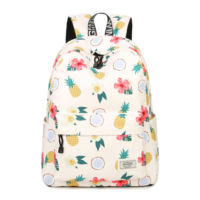 2017 New Flowers And Fruits Pineapple Printing Backpack Summer Style Fresh Kawaii Mochila School Bags Canvas Laptop Backpack