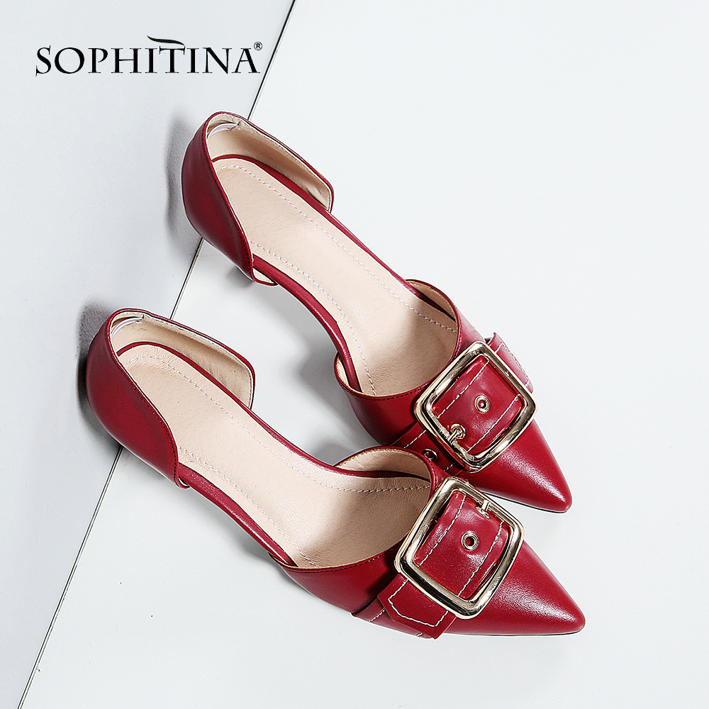 SOPHITINA Women s Fashion Sandals Basic Cow Leather Slip On Solid High Thin Heels Shoes Metal
