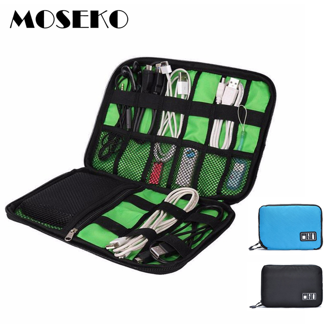 MOSEKO Electronic Accessories Travel Bag Nylon Travel Organizer For Date Line SD Card USB Cable Digital Device Storage Bag