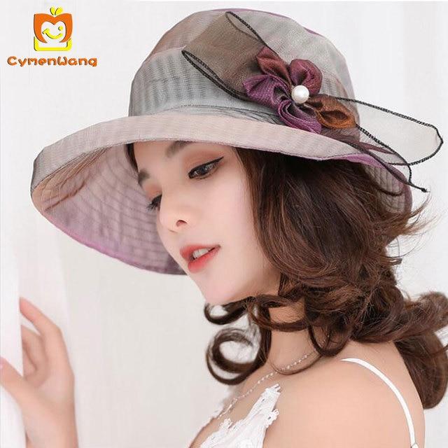 fc8583c60 Cymenwang 2018 Sun Kapelusze Elegancki Moda Damska Kwiaty Kapelusze Dla  Kobiet kapelusz Letni Ślubne Szerokim Rondem