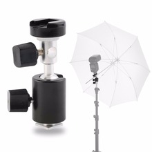 все цены на Universal 360 Degree Camera Flash Hot Shoe Adapter Umbrella Holder Swivel Light Stand Bracket Type C Photography Accessory Black онлайн