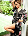 Sexy Black Chinese Female Silk Robe Dress Nightwear Printed Sleepwear Kimono Bath Gown Flower S M L XL XXL XXXL WR016