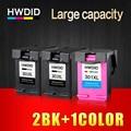 HWDID llenar 301XL cartucho de tinta HP 301 XL CH561EE CH562EE para HP Deskjet serie 1000, 1050, 2000, 2050, 2510 envidia 5530
