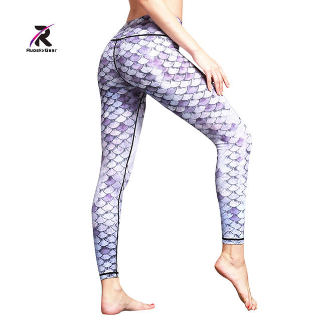 ea99817265522 Women Yoga Pants Running Fitness Elastic Tights Leggings Training Pants  Fish Scale Print Gym Sports Jogging Body Shape Trousers
