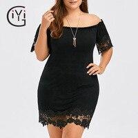 GIYI Plus Size 5XL Sexy Off The Shoulder Lace Short Bodycon Dress Party Evening Elegant Women Summer 2017 Mini Dress Robe Femme