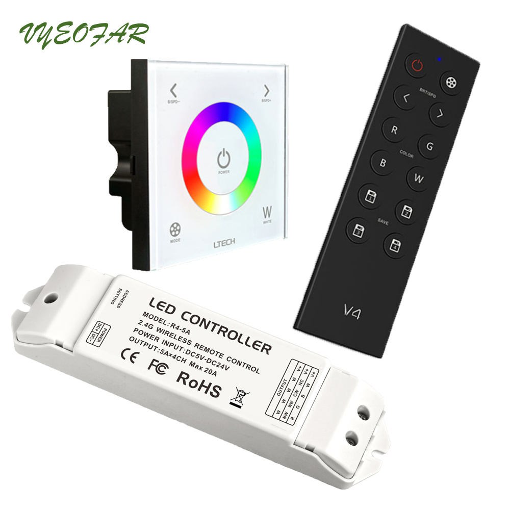 new ltech led wifi rgb controller wifi 104 ux8 touch panel rgb controller v8 remote and cv cc wireless receiver r4 5a r4 cc Ltech AC110V-240V DX4 Touch Panel RGBW Controller 2.4G RF+DMX512 V4 RF Remote LED Controller DMX512 Output R4-5A R4-CC Receiver