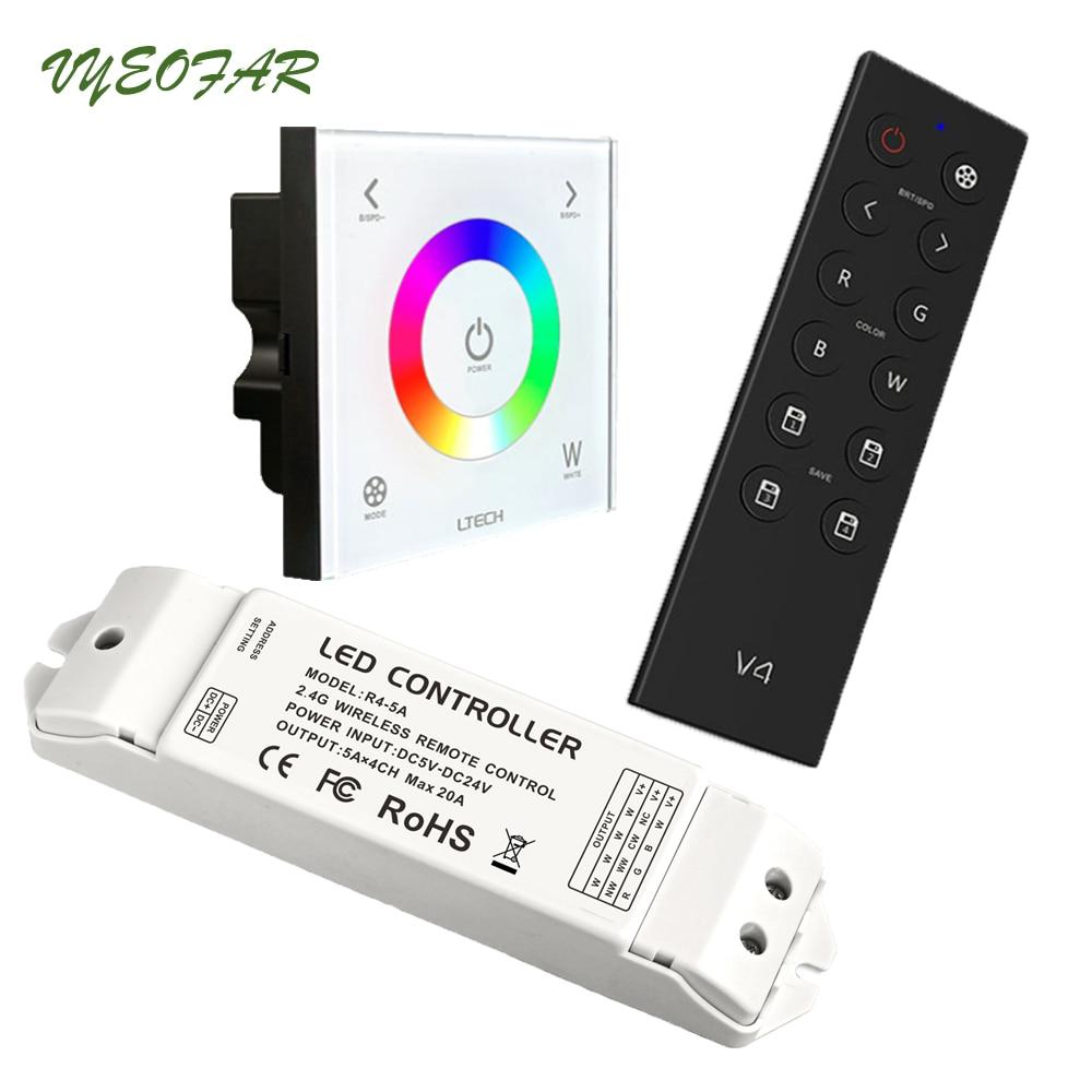Ltech AC110V-240V DX4 Touch Panel RGBW Controller 2.4G RF+DMX512 V4 RF Remote LED Controller DMX512 Output R4-5A R4-CC Receiver