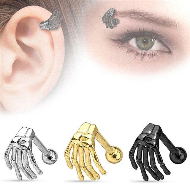 MODRSA 1 шт., черно-золотые Спиральные серьги из нержавеющей стали для пирсинга бровей в стиле панк, серьги с привидением, ювелирные изделия для ...