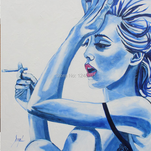 hand painted pop art woman smoker woman sexy oil painting on canvas for office home decor