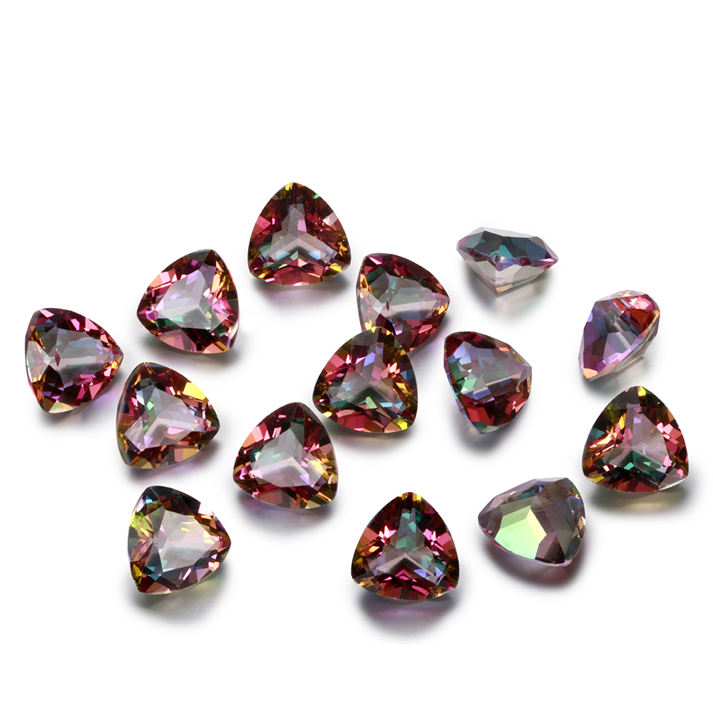 Hotsale 1-3ct High Quality Multicolor Spinel Stones Triangle 9x9MM Loose Gemstone Decoration Stone For Sale 10 Pcs/pack