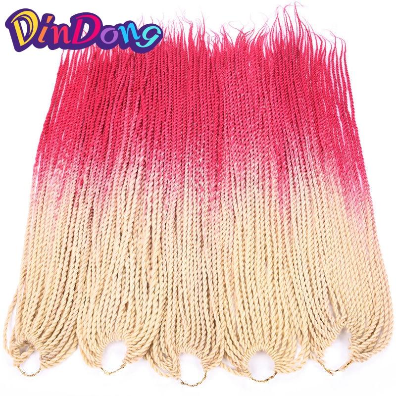 DinDong 30 Roots Ombre Crochet Braids Senegalese Twist 24 inch Jumbo - Syntetiskt hår