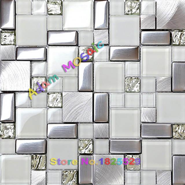 Metropolitana bianco piastrelle di vetro glitter argento mattonelle di  mosaico cucina backsplash design metallico in acciaio inox spazzolato  doccia a ...