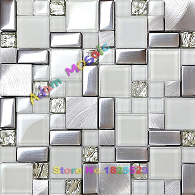 U bahn weiß fliesen glas glitter mosaik fliesen silber gebürstetem ...