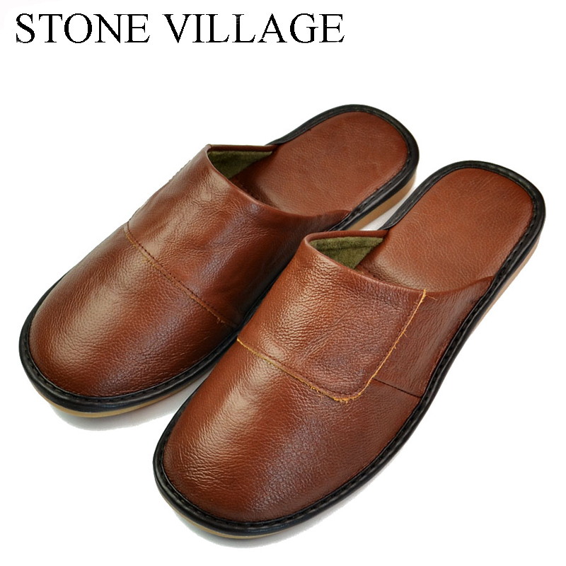 STONE VILLAGE Plus Size 36-45 High Quality  Genuine Leather Home Slippers Summer Spring And Autumn Cool Women Slippers 6 Colors