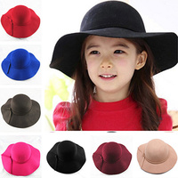 2017 new Vintage Retro Kids Child Boy Girl Hats Fedora polyester Felt Crushable Wide Brim Cloche Floppy Sun Beach Cap