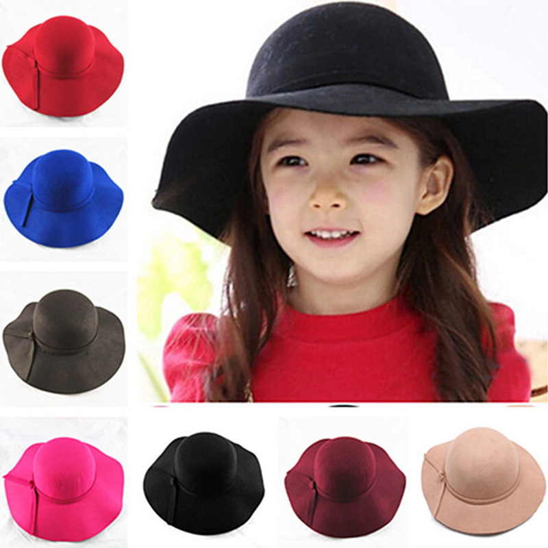 Girls Vintage Retro Kids Child Hats Polyester Felt Crushable Wide Brim Cloche Floppy Hat Summer Sun Beach Cap